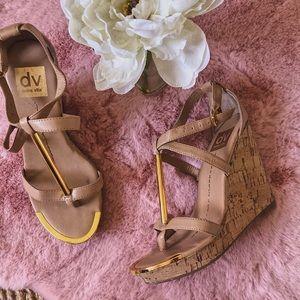 Used 🌸 DV Dolce Vita Gold Detail Wedge Heels
